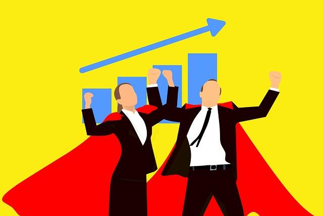 営業成績、売上、男女のイラスト図
