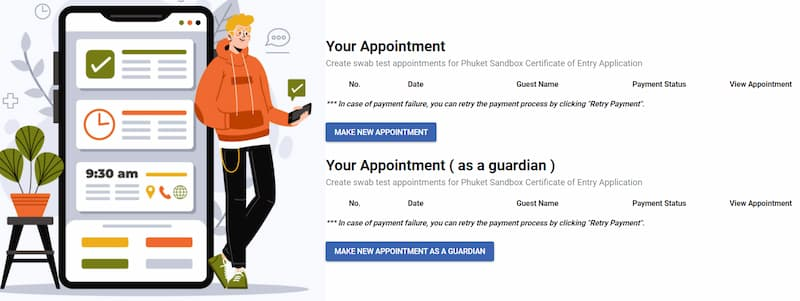 Phuket Swab Appointment System